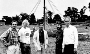 Godfrey Boyle, third from left, as a member of the Open University Alternative Technology Group at a wind test site in 1985.