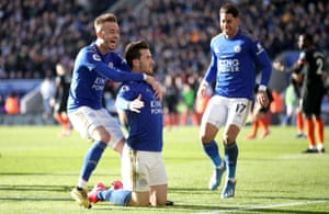 Leicester City's Ben Chilwell (centre) celebrates scoring his side's second goal of the game.