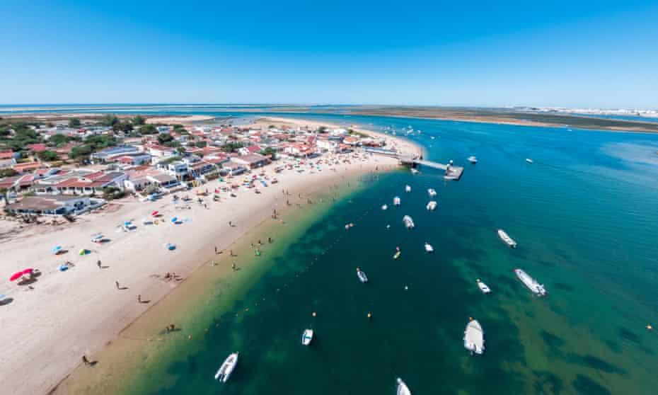 Aerial view of Armona Island, Ria Formosa, Algarve, Portugal.