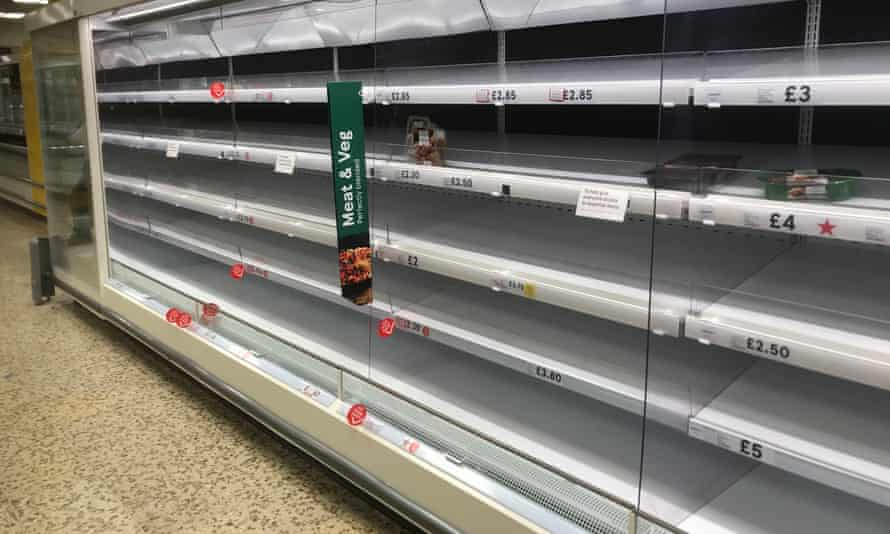 Empty shelves at a Tesco store in Worcester