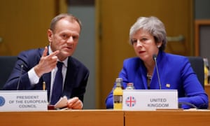 Donald Tusk with Theresa May in Brussels