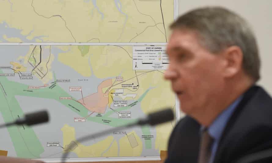 Map of the Port of Darwin behind US Defence Secretary, Dennis Richardson.