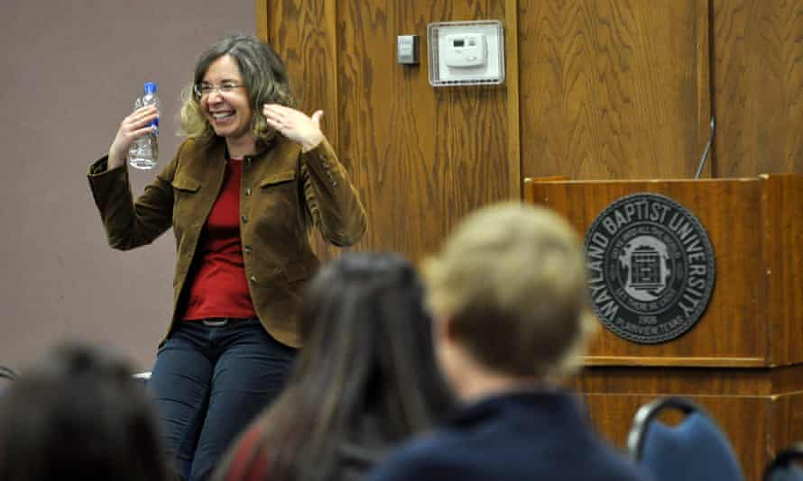 Katharine Hayhoe speaks about climate change to students and faculty at Wayland Baptist University on November 9, 2011, in Plainview, Texas.