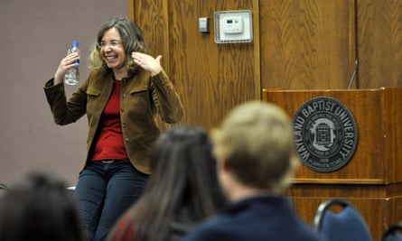 Katharine Hayhoe speaks about climate change to students and faculty at Wayland Baptist University in Plainview, Texas.