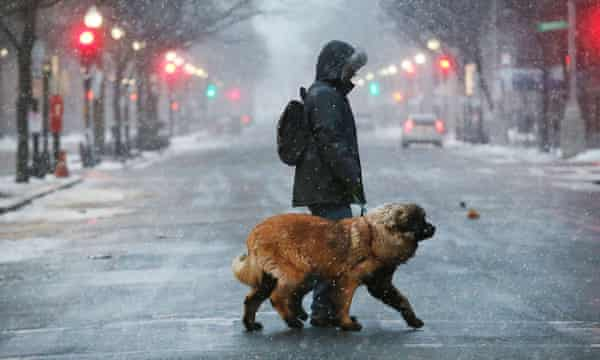 Freezing temperatures and snow in Boston in January 2018. Forecasts said the Berkshires in western Massachusetts could receive up to 2in of snow.