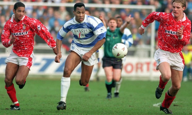 Former Hayes forward Les Ferdinand on a typically rampaging run for QPR against Coventry in 1993.