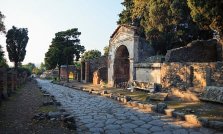 The archaeological site at Pompeii, Italy.