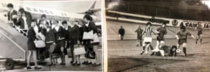 Manchester Corinthians players board a plane to Reims, France, in 1970, for an international tournament, where one of the teams they faced was Juventus.