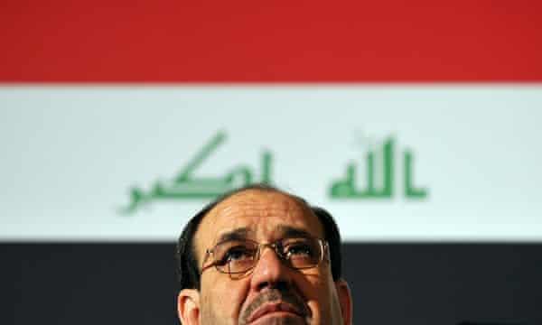 Nuri al-Maliki addressing delegates at a conference in central London, 2009.