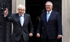 Boris Johnson and Scott Morrison have held a press conference in London on the Australia-UK trade deal.