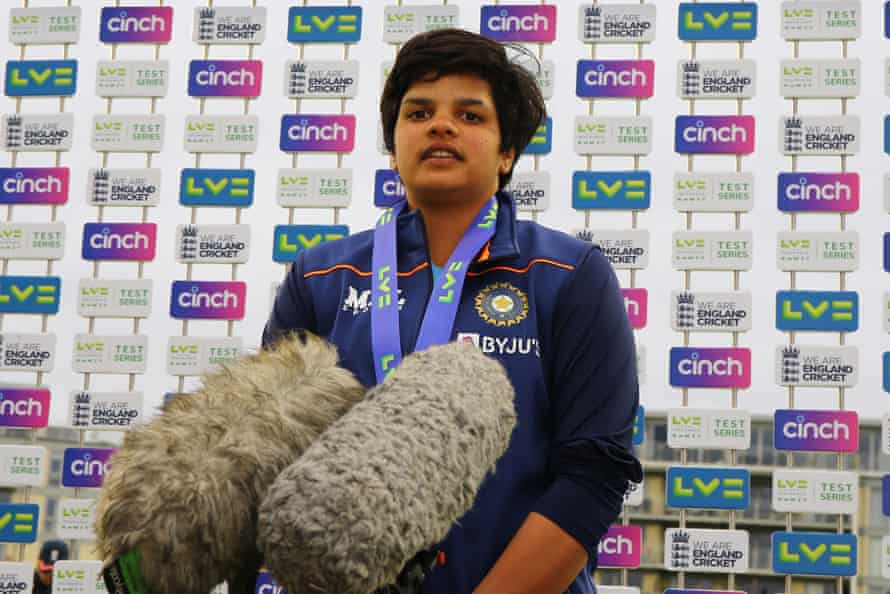 Shafali Verma is talking to media after the test draw.