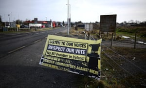 An anti-Brexit sign on the Irish border in Belleek, Northern Ireland
