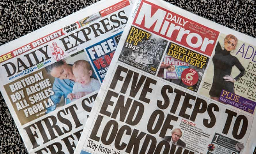 Daily Express and Daily Mirror newspapers