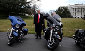 Donald Trump with Harley-Davidsons outside the White House