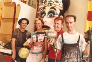 Peter Tully, Philip Mills (Doris Fish), Ron Smith and in the Sydney Gay Mardi Gras Workshop, February 1986.