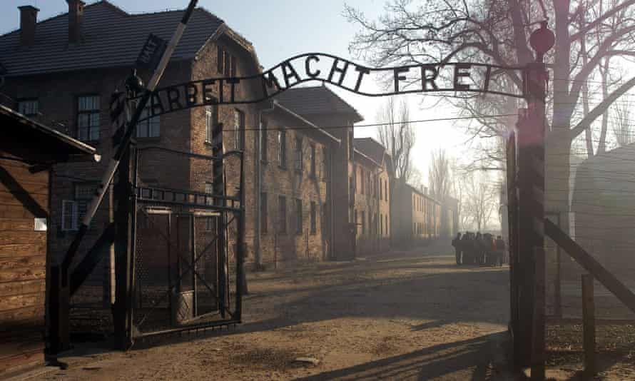 The entrance to the former Auschwitz-Birkenau concentration camp in southern Poland