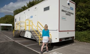 A woman attends a mobile breast-screening unit in Hampshire.