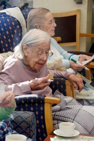 Enjoying a biscuit.