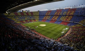 Barcelona and Real Madrid before a previous match at the Camp Nou stadium.