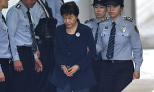 Park Geun-Hye arriving at a court in Seoul.