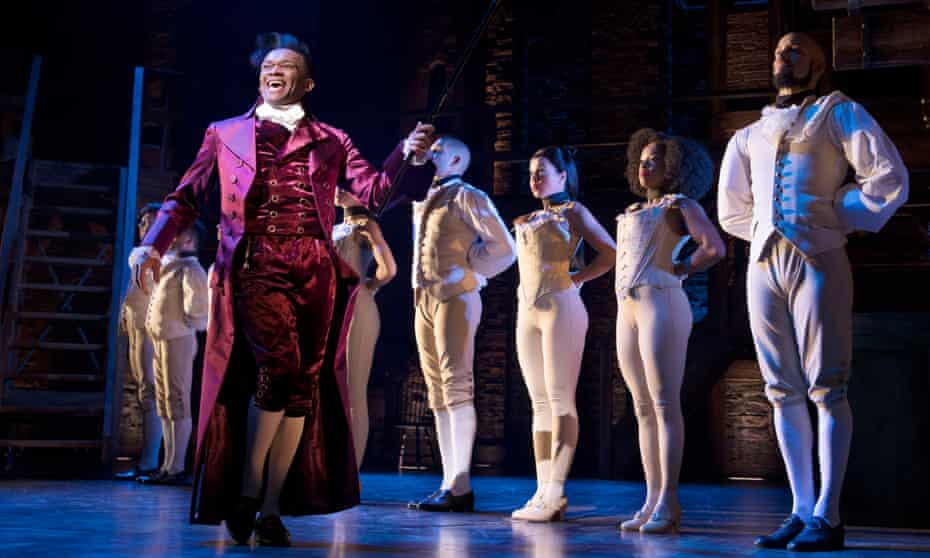 The West End cast of Hamilton, which co-stars Jason Pennycooke (left) as Thomas Jefferson.