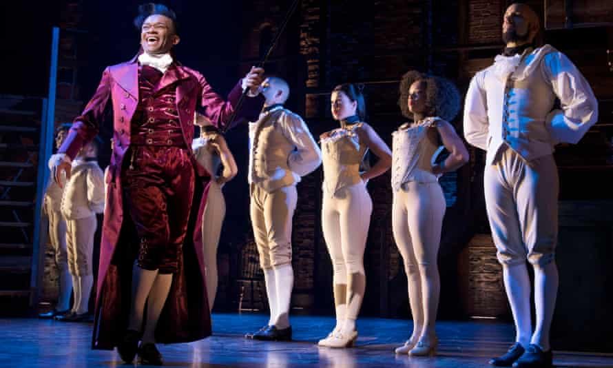 Jason Pennycooke as Thomas Jefferson with the West End cast of Hamilton.