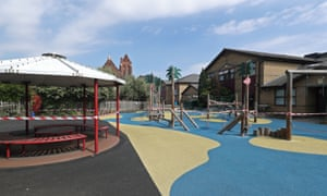 The cordoned off play area and equipment of a primary school in London.