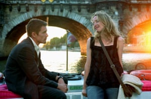 Ethan Hawke and Julie Delpy in Before Sunset, 2004, second in their characters' romantic trilogy.