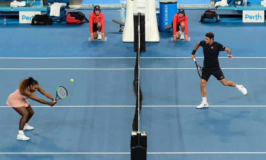 Serena Williams looks to take evasive action from a Federer volley