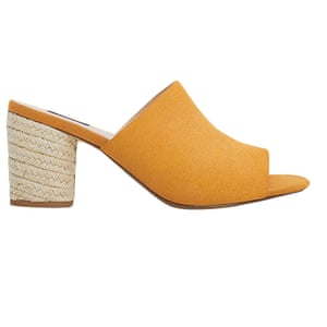 yellow mules with cord heel