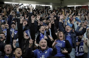The Leicester City fans go wild as Wes Morgan scores the only goal of the game against Southampton