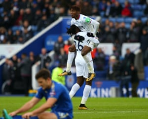 Bakary Sako celebrates with fellow Palace goalscorer Wilfried Zaha.