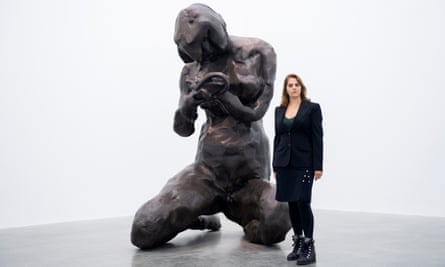 Tracey Emin with her model for The Mother, which will be 7 metres tall