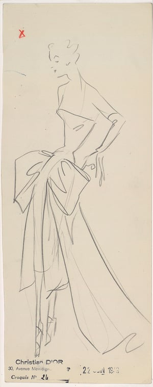 Sketch by Christian Dior for the autumn−winter 1949 haute couture collection