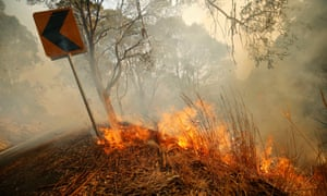 Fire burns in Jumbuck in south-east Victoria where fire crews are battling more than 20 bushfires