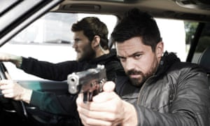 'Chiselled and stubbly': Tyler Hoechlin, left, and Dominic Cooper in Stratton