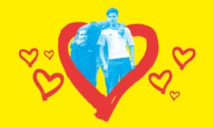 David Beckham and son and daughter on yellow background with red hearts all around
