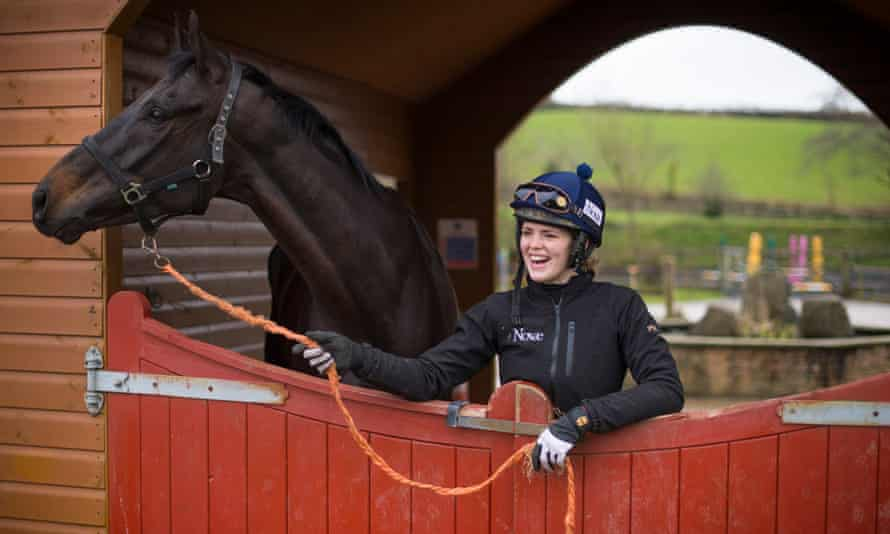 Lizzie Kelly with Tea for Two at his stables.