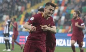 Roma's Cengiz Under celebrates scoring against Udinese.