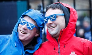 Pro-independence campaigners march through Glasgow.