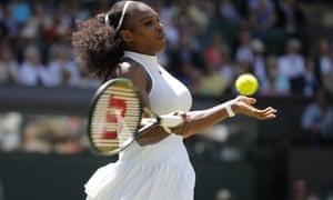 Serena Williams fires a forehand against Elena Vesnina.