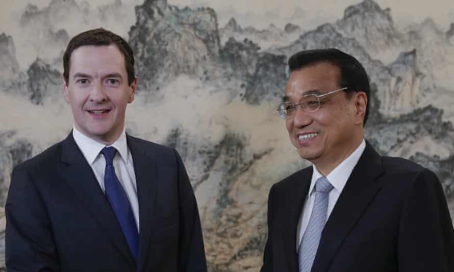 Chinese premier Li Keqiang greets George Osborne in Beijing.