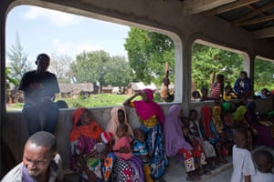 People in a queue for a health check up from the Safari Doctors staff, Kiangwe village, Kenya