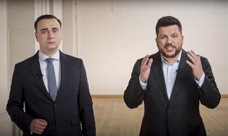 Leonid Volkov, right, and his colleague Ivan Zhdanov appeared in a video on YouTube.