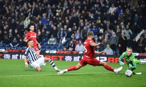 Kieran Gibbs scores West Brom's first goal in their victory over Bristol City at The Hawthorns.