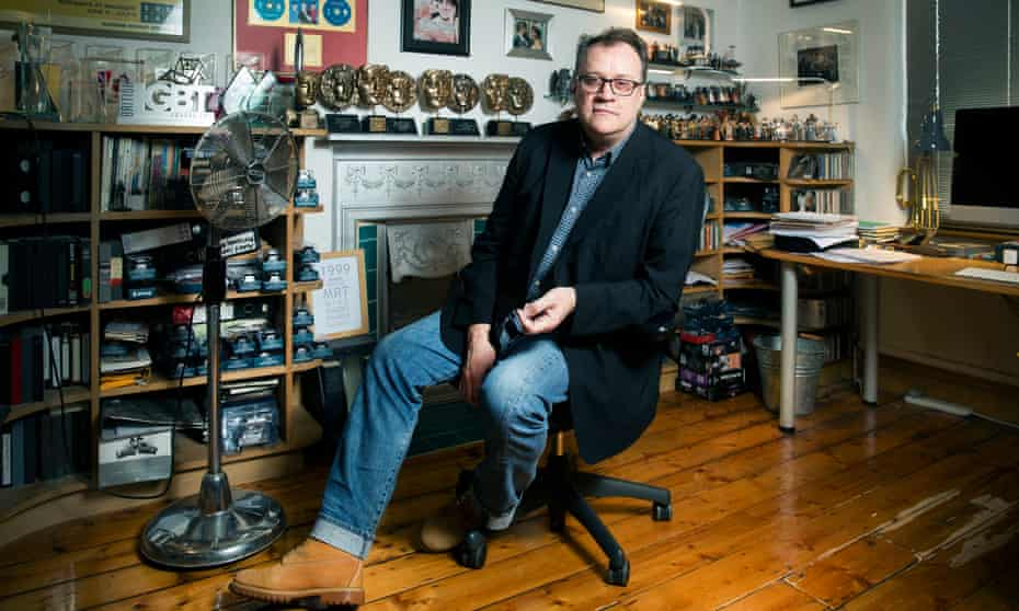 Russell T Davies in his office at his home in Manchester.