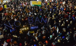 A demonstration against the Muslim immigration ban at John F Kennedy International Airport in New York, on January 28 2017.