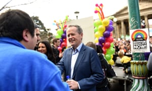 Opposition leader Bill Shorten at a marriage equality protest in Melbourne, Saturday, Aug. 15, 2015.