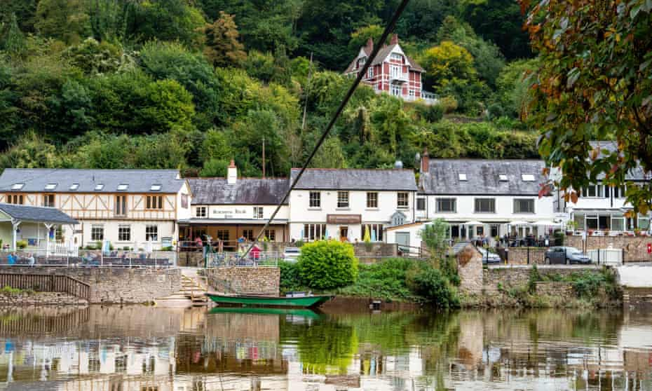 The hand-pull cable ferry across the River Wye run by the Saracen's Head Inn at Symonds Yat.