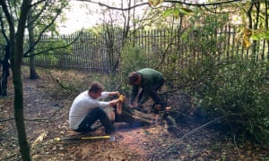 Geoff and Mike Sharp helping to tidy Allington's Community Wood